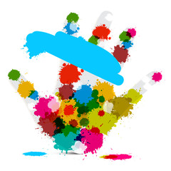 Vector Palm Hand and Colorful Splashes