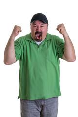 Man Wearing Green Shirt Celebrating