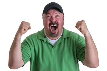 Excited Man Wearing Green Shirt Celebrating