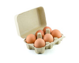 Eggs in Carton isolate on white with clipping path