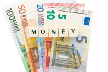 Several euro banknotes money text dice