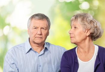 Senior Adult. Portrait of Worried Senior Couple