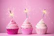 Pink cupcakes with sparklers - 82496409