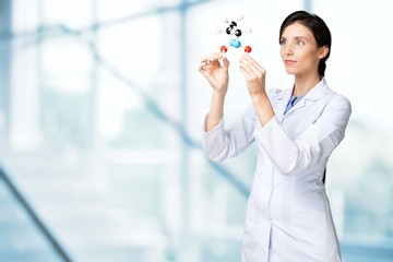 Scientist. Researcher looking at a molecular structure