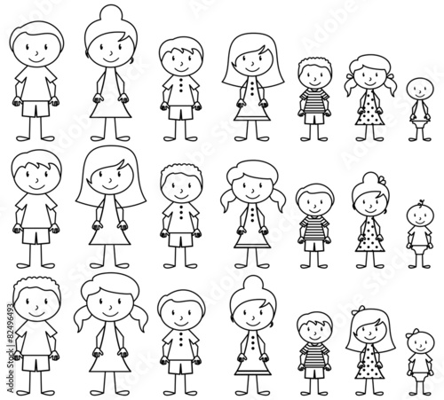 Set of Cute and Diverse Stick People in Vector Format - 82496493