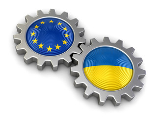 Ukrainian and European union flags on a gears