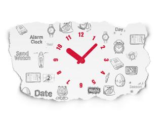 Timeline concept: Clock on Torn Paper background