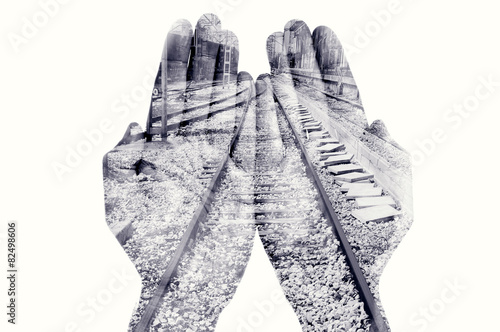 double exposure of man hands and railway, in black and white - 82498606