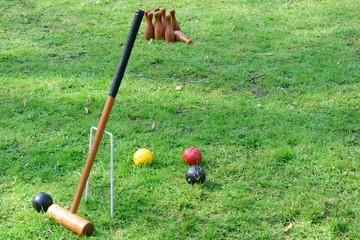 Croquet Equipment and outdoor  skittles