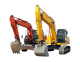 modern excavators isolated on the white