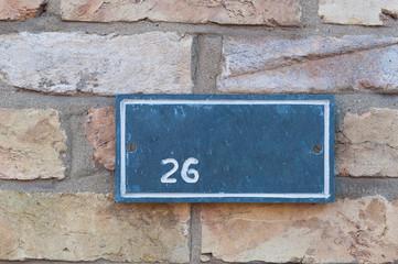 Number 26 sign