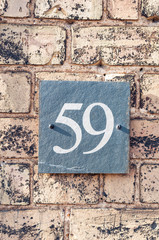 House number fifty nine for use as a background