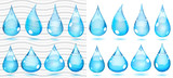 Transparent and opaque drops in saturated light blue colors