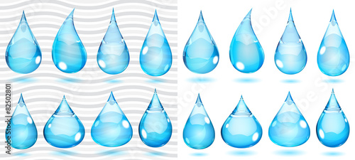 Transparent and opaque drops in saturated light blue colors - 82502801