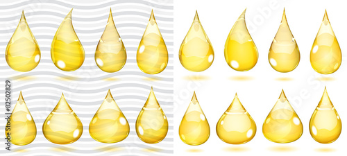 Transparent and opaque drops in saturated yellow colors - 82502829