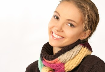 Women. Happy Young Woman in Colorful Scarf