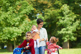 happy young family in park