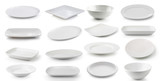 Fototapety white  ceramics plate and bowl isolated on white background