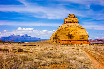 Church rock US highway 163 191 in Utah east of Canyonlands Natio