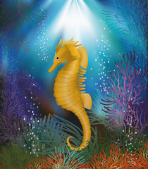 Underwater wallpaper with seahorse, vector illustration