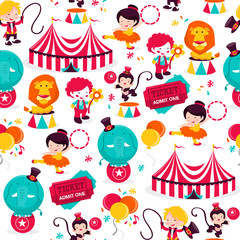 Carnival Circus Seamless Pattern Background