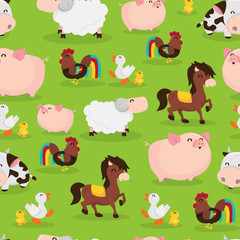 Happy Barnyard Farm Animals Seamless Pattern Background
