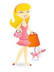 Cartoon Rich Heiress Going Shopping