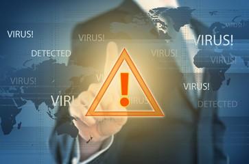Threat. Image of businessman touching virus alert icon