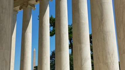 Jefferson Memorial Columns with Washington Monument in Distance