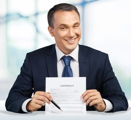 Sales Occupation. Stock photo of creepy business man asking to