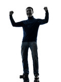 man happy strong victorious silhouette full length
