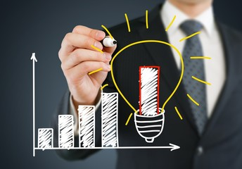 Growth. Business man writing concept of good idea can make rapid