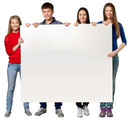Sign. College Students Holding a Blank Sign