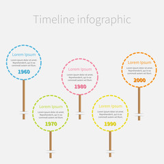 Dash line round icons on stick Timeline Infographic text. Flat