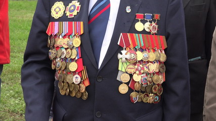 Orders and medals on his chest veteran. 4K.