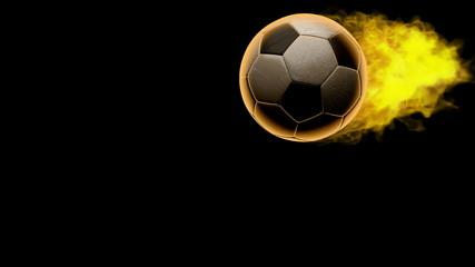 burning soccer ball. Alpha matted