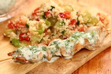 chicken shish kebab with salad