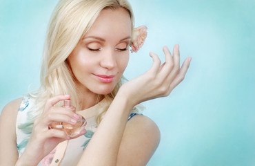 sensual tender delicate young woman with perfume, beauty concept