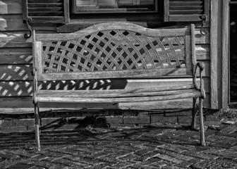 isolated bench on wood in black and white