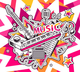 Vector illustration of red and yellow set of musical instruments