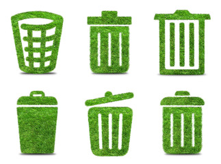 Set green grass  trash can