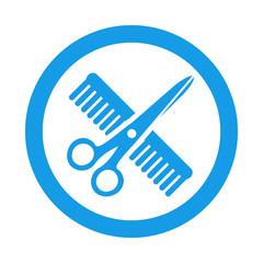 Icono redondo peluquería azul