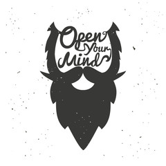 Vector poster with bearded man's head