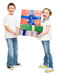 two child with gift boxes