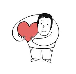 Man hugging a love heart, vector illustration