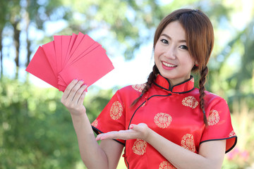 Chinese girl  hold red envelope