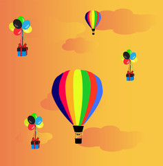 hot air baloons in sunset