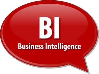 BI acronym word speech bubble illustration