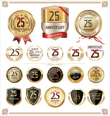 Anniversary golden labels and badges, 25 years