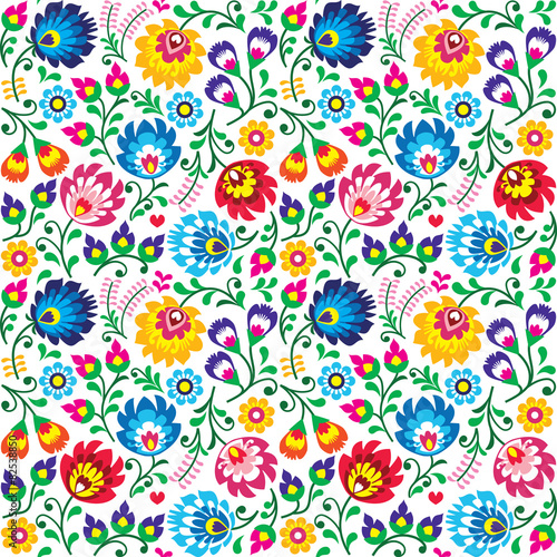 Seamless Polish folk art floral pattern  - 82538850